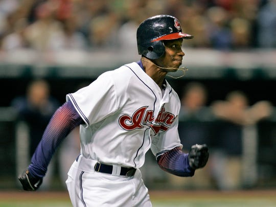 Cleveland Indians' Kenny Lofton runs out a ground ball to second base in the fourth inning during Game 3 of the American League Championship baseball series against the Boston Red Sox, Oct. 15, 2007, in Cleveland.