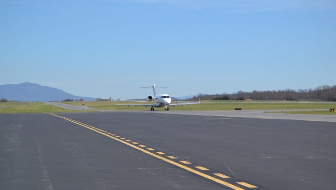 A plane lands at Shenandoah Valley Regional Airport in Weyers Cave, Virginia.