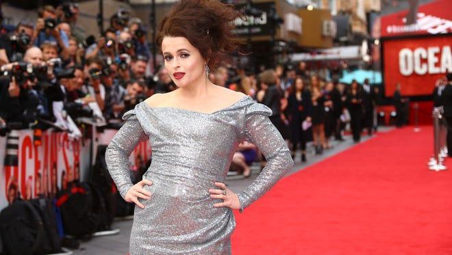 """""""Ocean's 8"""" cast member Helena Bonham Carter strikes her red carpet pose."""