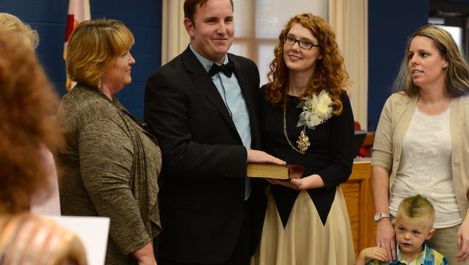 Wesley Meiss is sworn in as Mayor of Milton.