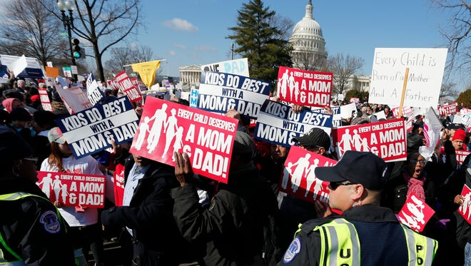 Opponents of same-sex marriage rally in Washington in 2013, the last time the Supreme Court took on the issue.