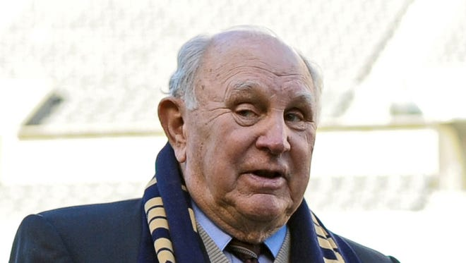 In this April 10, 2010, file photo, Walter Bahr,  the last living member of the U.S. soccer team that upset England at the 1950 World Cup,  speaks before an MLS soccer game between D.C. United and the Philadelphia Union, in Philadelphia. Bahr has died at age 91. Bahr died Monday, June 18, 2018, in Boalsburg, Pennsylvania from complications that resulted from a broken hip, according to granddaughter Lindsey D. Bahr, a film writer for The Associated Press.