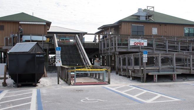 Renovations continue Tuesday, Dec. 26, 2017, at Windjammers onthe Pier, the new restaurant and bar at the Navarre Beach Pier.