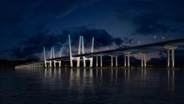 A rendering of the new Tappan Zee Bridge at night with dynamic lighting.