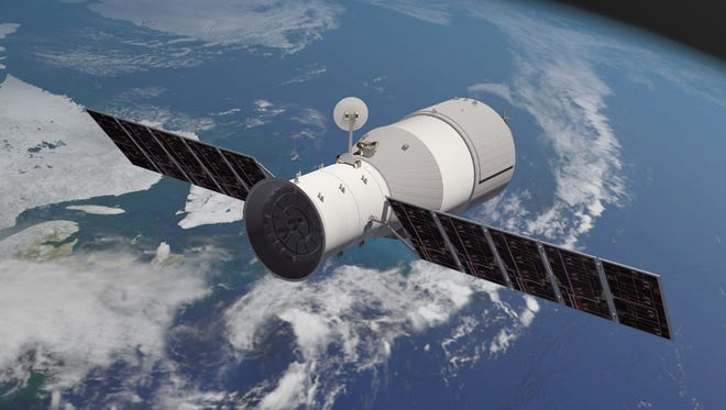 An artist's depiction shows Tiangong-1, the Chinese space station that will plummet to Earth soon.