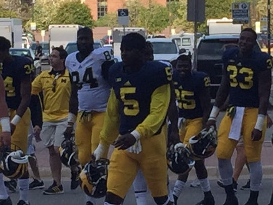 Michigan defensive back Jabrill Peppers walks to practice Saturday in Ann Arbor.