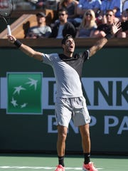Juan Martin Del Potro celebrates his win over Roger