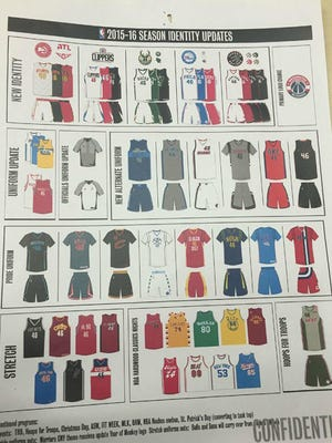 This page purportedly shows various new NBA uniform designs for the 2015-16 season.