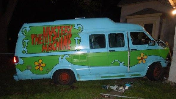 A van painted to look like the Mystery Machine from