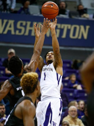 Washington guard David Crisp goes up for a shot against Nevada. Crisp has averaged 18.3 points over his past four games, including 21 against the Wolf Pack.