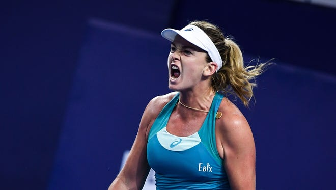 Coco Vandeweghe reacts during her match against Peng Shuai of China at the WTA Elite Trophy tournament.