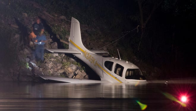 A small plane that ran off the runway into the Tennessee River at Island Home Airport shortly after 9 p.m. on Sunday, May 13, 2018.