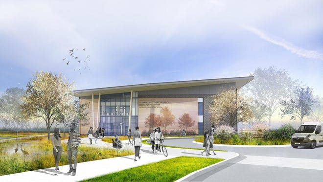 A rendering of the forthcoming Richard and Theresa Barch Center for Freshwater Research and Education Building and the site of the St. Marys River Green Stormwater Demonstration Project.