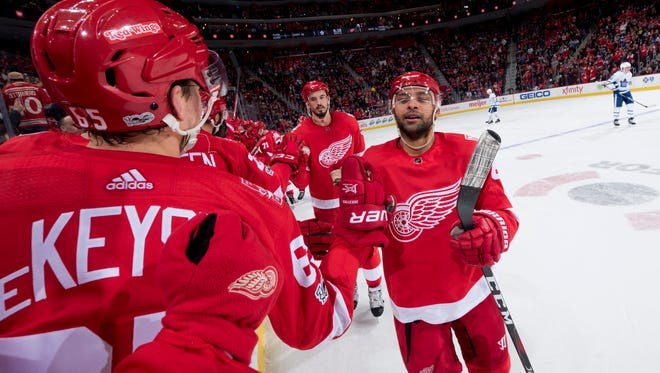 Detroit defenseman Trevor Daley celebrates after scoring his first goal of the season Friday against the Maple Leafs. The tie-breaking goal in the second period was also the team's sixth shorthanded goal this season.