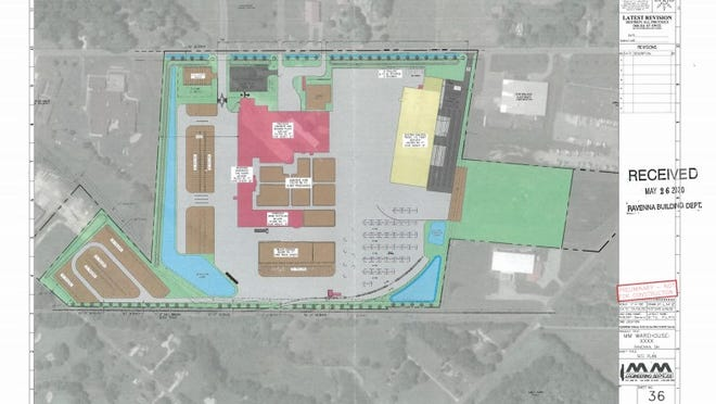 A set of plans submitted to the city of Ravenna shows the Menards distribution and manufacturing center proposed on Route 88 in Ravenna. The city's planning commission recently approved plans for the project.