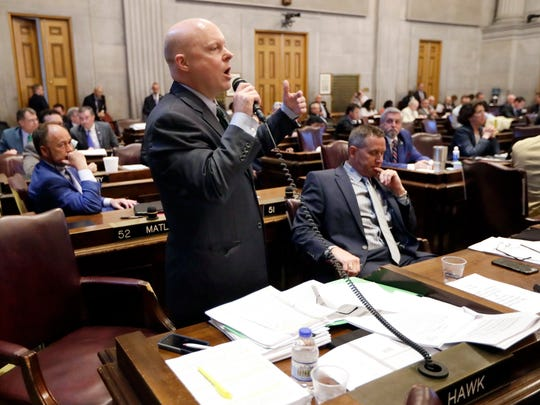 Rep. David Hawk, R-Greeneville, introduces his amendment to a road and bridge funding bill April 19, 2017, in Nashville. Hawk's amendment failed.