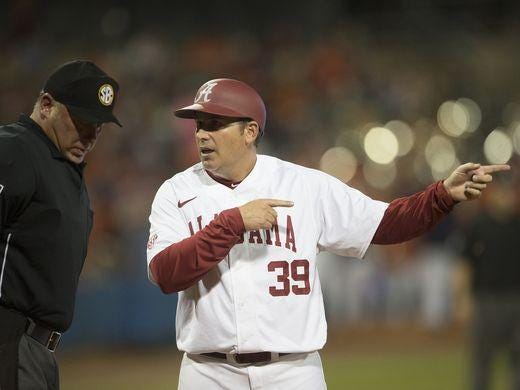 Coach Greg Goff and the Crimson Tide are in last place in the SEC, only four games out of 12th place with three SEC series remaining and the SEC Tournament still within reach. The Tide plays at Auburn for a three-game series this weekend.