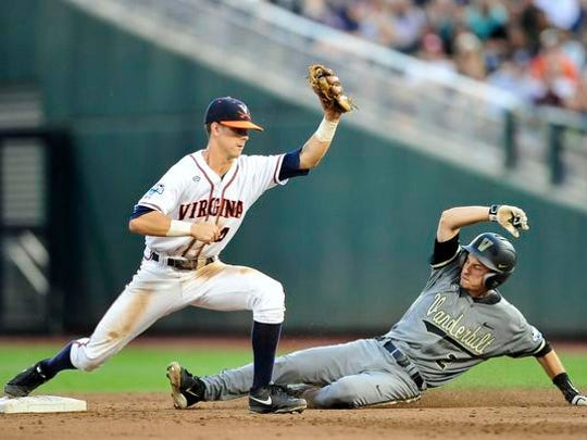Vanderbilt's Tyler Campbell, right, is forced out by Virginia's Ernie Clement at second during the 5th inning in the Game 2 of the College World Series finals at TD Ameritrade Park, Tuesday, June 23, 2015, in Omaha, Neb.