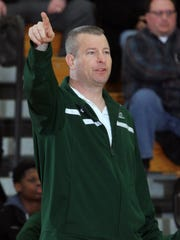 2015 Boys GMC basketball semi finals held at South Brunswick high school in South Brunswick on Tuesday February 24,2015. Perth Amboy takes on St. Joseph's of Metuchen. St. Joseph's High School head basketball coach David Turco on the sidelines during the game.