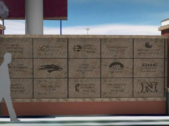 An artist rendering of the bricks that would adorn the plaza near the north entrance at Mackay Stadium.
