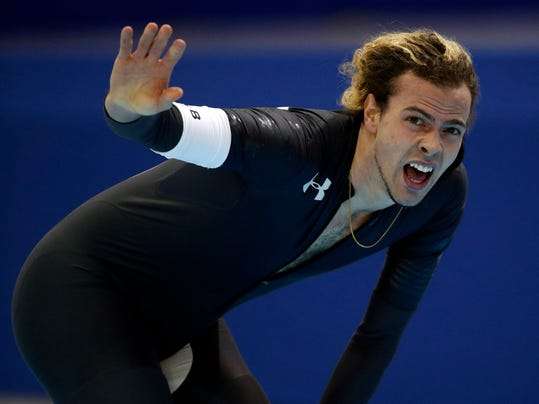 Jeffrey Swider-Peltz reacts after competing in the men's 5,000 meters during the U.S. Olympic long track speedskating trials, Tuesday, Jan. 2, 2018, in Milwaukee. (AP Photo/John Locher)