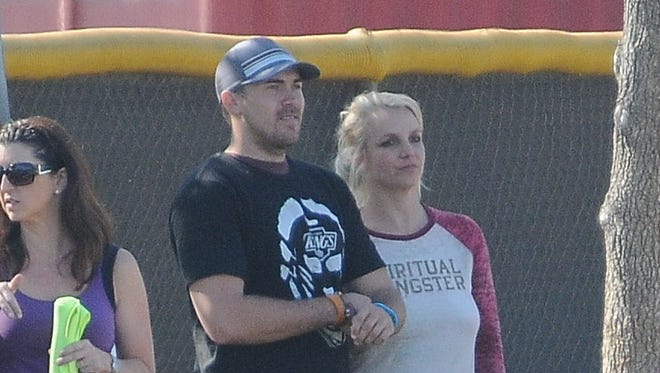 Britney Spears and David Lucado at a soccer game on Nov. 09, 2013 in Los Angeles