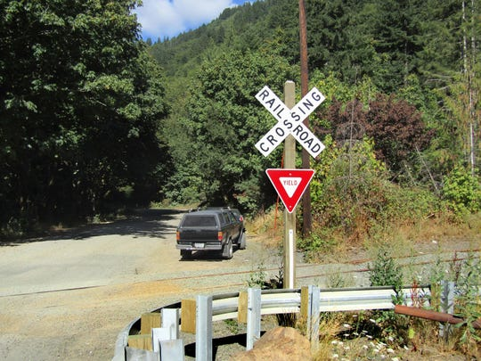 Salmonberry River railroad trailhead sign is seen in Salmonberry.