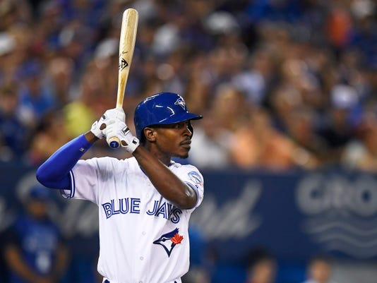 Toronto Blue Jays' Melvin Upton Jr. stands in the batter's box during the seventh inning against the San Diego Padres in a baseball game Tuesday, July 26, 2016, in Toronto. (Frank Gunn/The Canadian Press via AP)