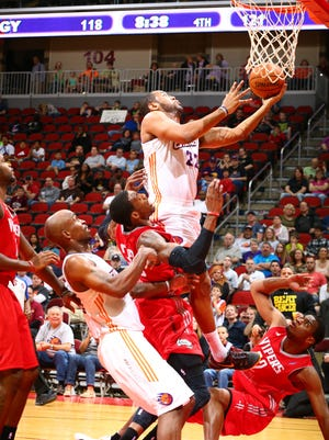 Austin Freeman of the Iowa Energy drives in for a layup against the Rio Grande Valley Vipers in an NBA D-League game on April 12 at the Wells Fargo Arena in Des Moines.