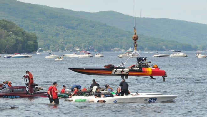 A powerboat lowers into Greenwood Lake in West Milford for a race event in June 2014. Races return Father's Day weekend 2018.