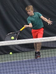 Philip Etzel hits a forehand return en route to his win in the boys 10 final of the 85th News Journal/Richland Bank Tennis Tournament