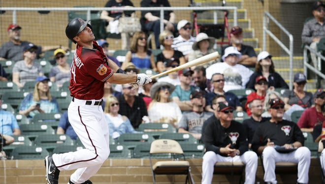 Arizona Diamondbacks Paul Goldschmidt hits a 2-run homer to right field against the Los Angeles Dodgers in the 1st inning during spring training action on Mar. 3, 2017 at Salt River Fields in Scottsdale, Ariz.