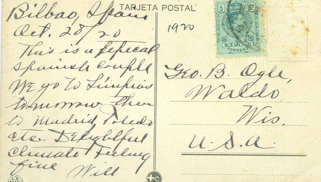 This divided-back postcard was sent from Bilbao, Spain to the Ogle family of Waldo.