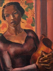 """James A. Porter, """"Woman Holding a Jug,"""" 1930, oil on"""
