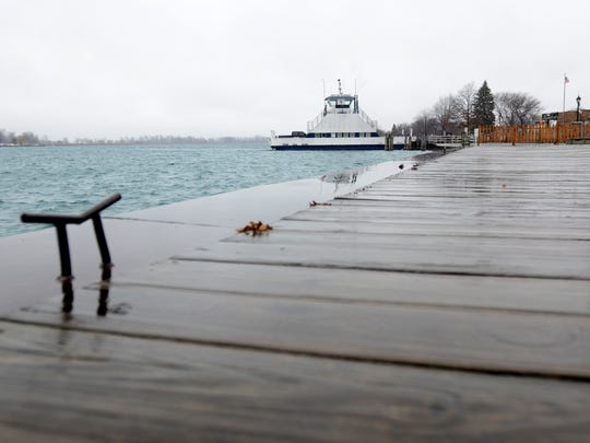 The ferry to Canada arrives in Algonac Monday, Dec. 21, on the St. Clair River.
