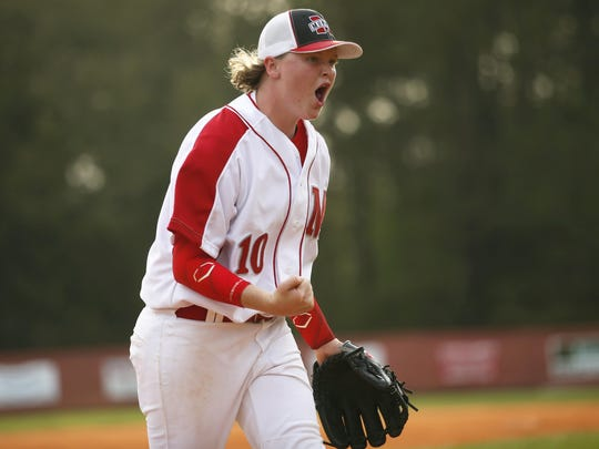 Mary Pat Thomas celebrates as her team gets the final out in an inning against Rickards in a game last week.