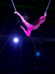 Ashley Felix performing an aerial routine. Felix is