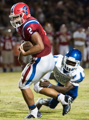 Pace High's Damean Bivins, (No. 2) leads the PNJ area with 802 rushing yards.