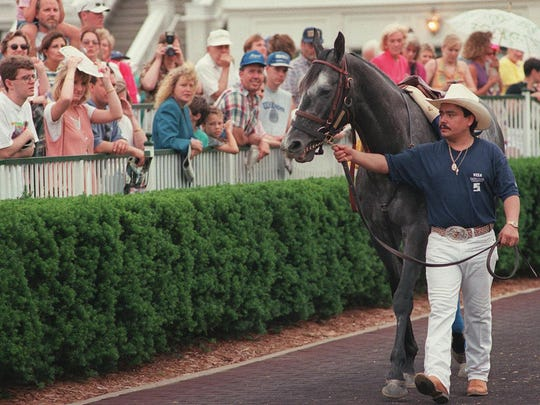 Groom Rudy Silva leads the 1997 Kentucky Derby champ around Churchill's paddock on Silver Charm Day later in the summer of 1997.