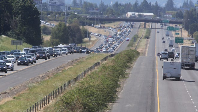 Traffic on northbound I-5 (left) following the total solar eclipse.