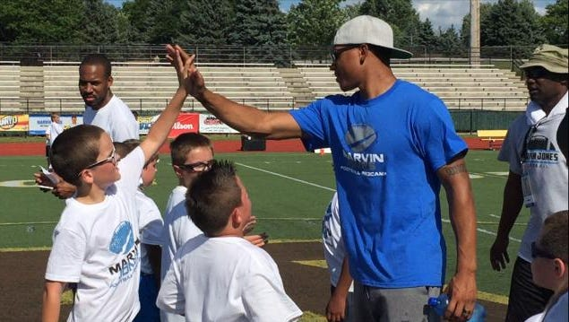 Lions wideout Marvin Jones attended a youth football camp at Rochester Adams High on Friday, July 22, 2016.