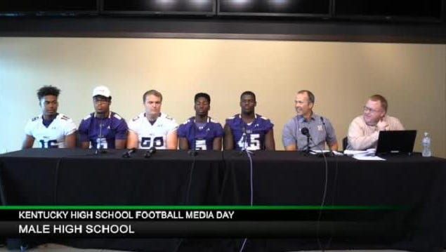 Male participates during the 2016 high school football media day at Churchill Downs