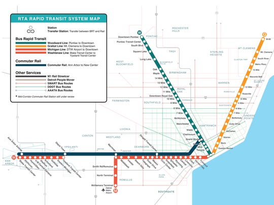 This sample map shows what the Regional Transit Authority of Southeast Michigan's rapid transit system could look like. The map includes three corridors -- Woodward, Michigan and Gratiot avenues -- with bus rapid transit lines, and a commuter rail line connecting Detroit and Ann Arbor.