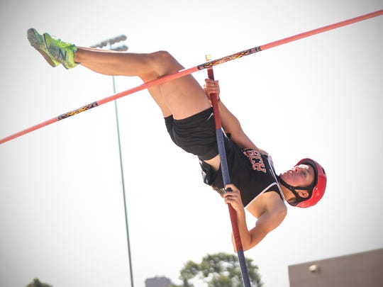 Tech pole vaulter Kaethe Schroeder competes Saturday, June 10, during state track and field competition at Hamline University in St. Paul..