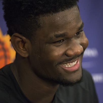 Deandre Ayton talks with the media, June 6, 2018, after