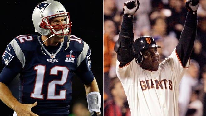 New England Patriots quarterback Tom Brady and former San Francisco Giants left fielder Barry Bonds.