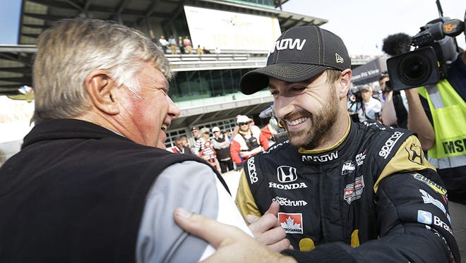 James Hinchcliffe wins the pole for the 100th Indianapolis 500.