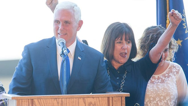 Gov. Mike Pence and his wife, Karen, received a warm welcome when they arrived at Indianapolis Executive Airport on Saturday, July 16, 2016. Pence was just chosen by Republican presidential candidate Donald Trump to be his running mate.