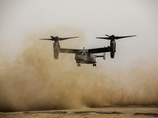An Osprey prepares to land during a tactical recovery