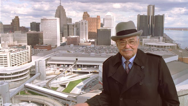 Photo taken early November 1989 -- Detroit Mayor Coleman Young atop the Riverfront Apartments overlooking downtown Detroit. Photo by Tony Spina/Detroit Free Press